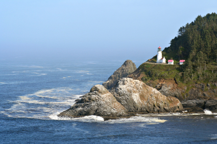 Heceta Lighthouse Florence Or A Lighthouse With A