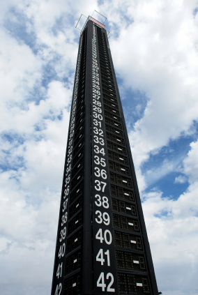National Association  Stock  Auto Racing Race on Lap Counter Tower At An Auto Race Track