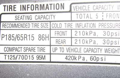tire pressure question 2009 race car engine acura automotive sports cars sedans coupes. Black Bedroom Furniture Sets. Home Design Ideas