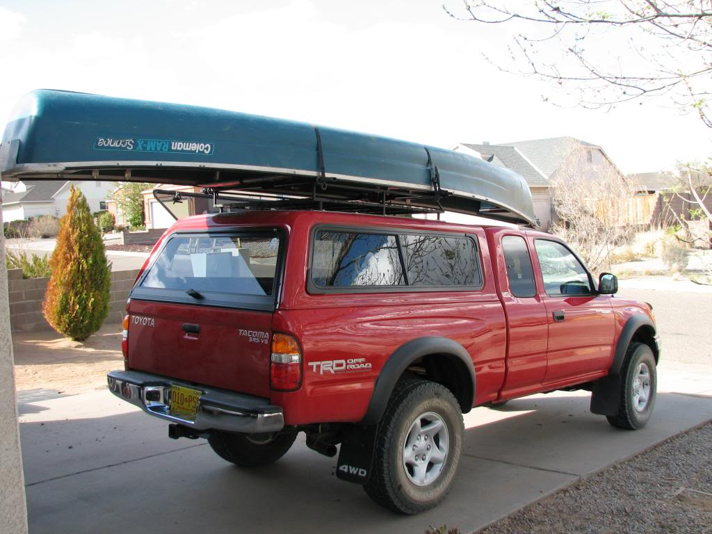 Canoe On Truck W Cap Thule Tracker II Roof Rack System S