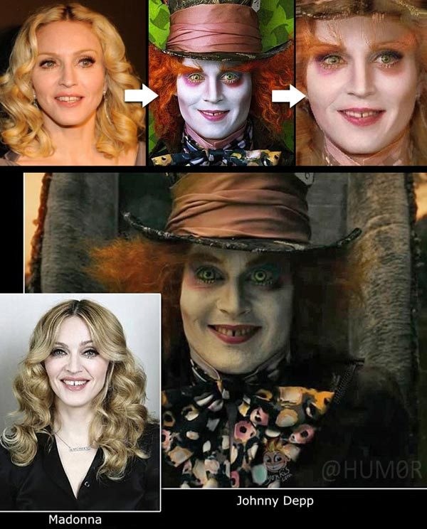 Does Johnny Depp(Mad Hatter) look like Maddona to you