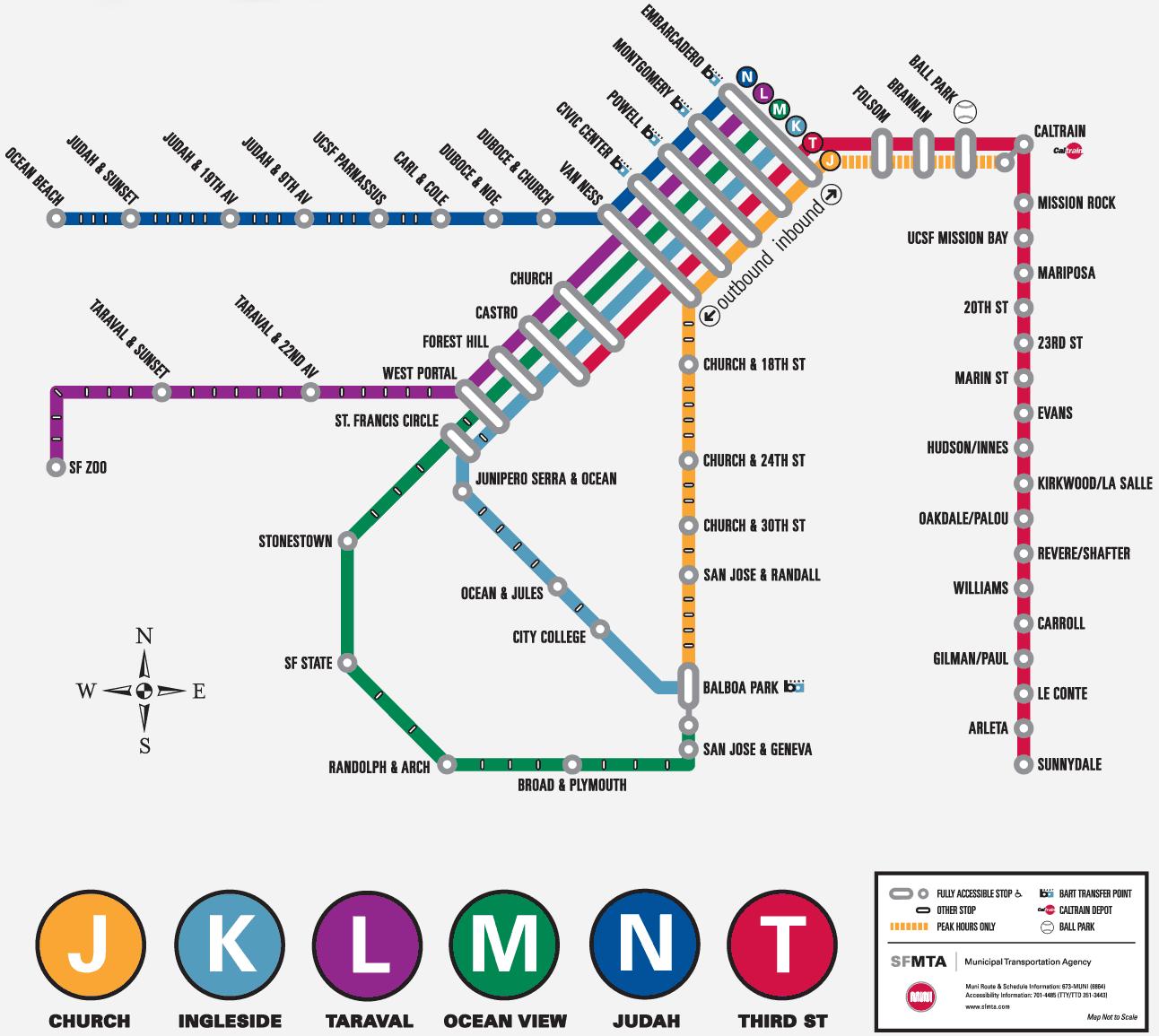 San Francisco Muni Metro Map.Muni Train Map Rtlbreakfastclub
