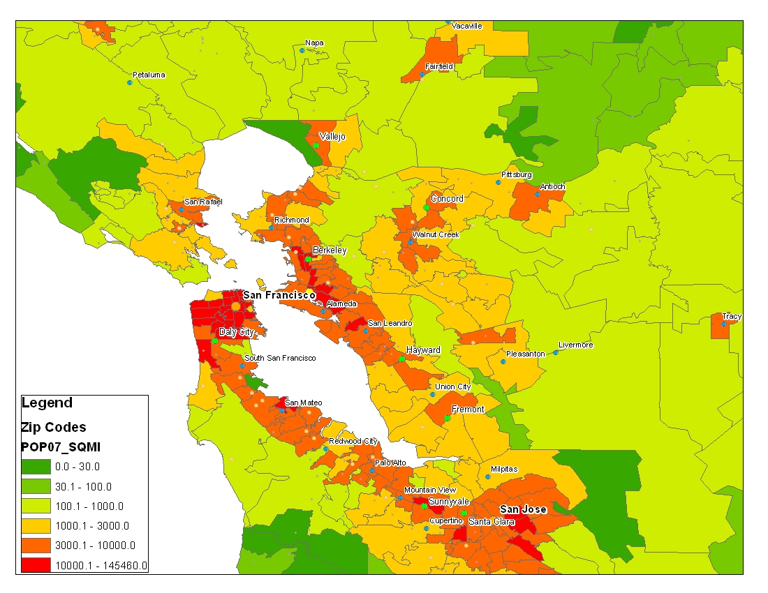 Population Density By Zip Code Map.Is There A Best Way To Determine Comparative City Population