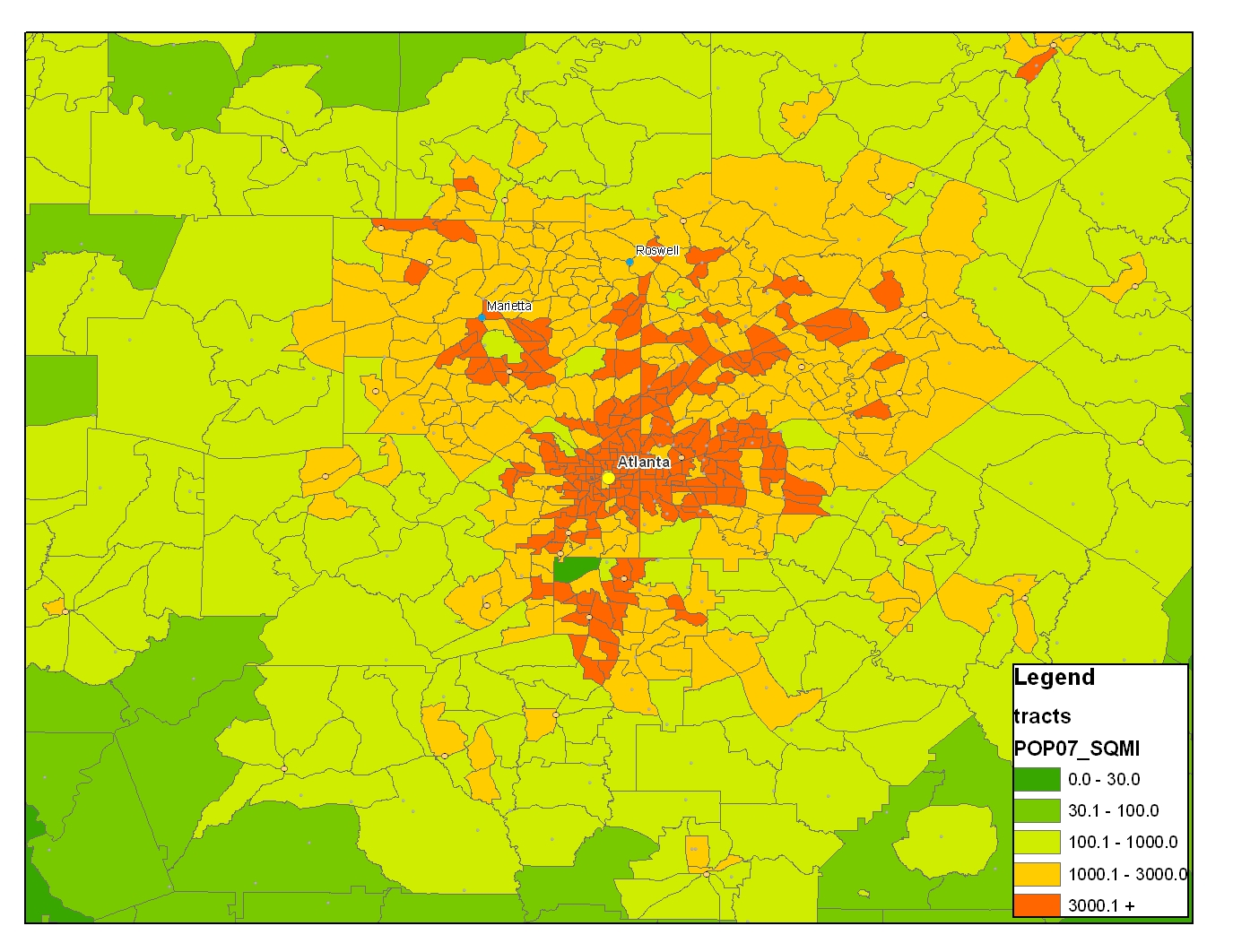 Density DallasHouston Or Atlanta Map Bigger Better