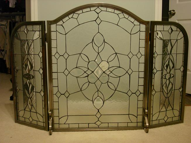 FOR SALE: 3-Fold Pewter Leaded Glass Fireplace Screen - Classified ...
