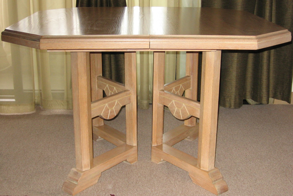 For Sale 8 Piece Dining Set Hand Tooled Solid Oak