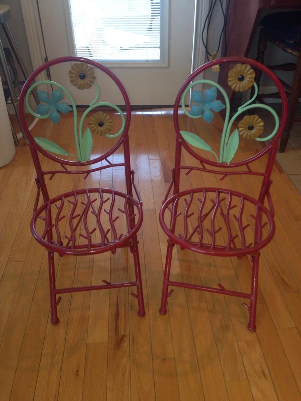 Childu0027s Wrought Iron Folding Chair Image