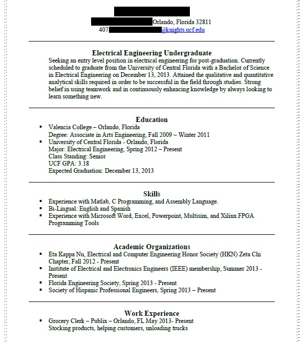 First Resume In Engineering Resume  Resume For Engineering