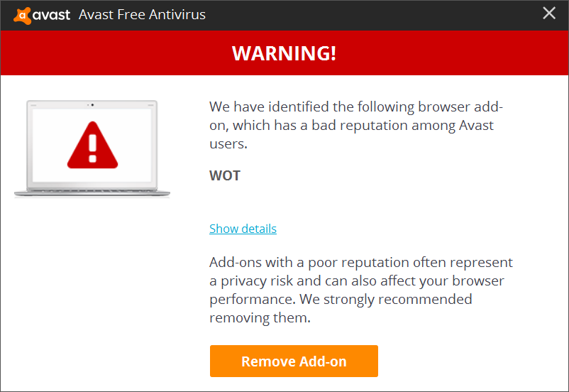 avast bad browser add on