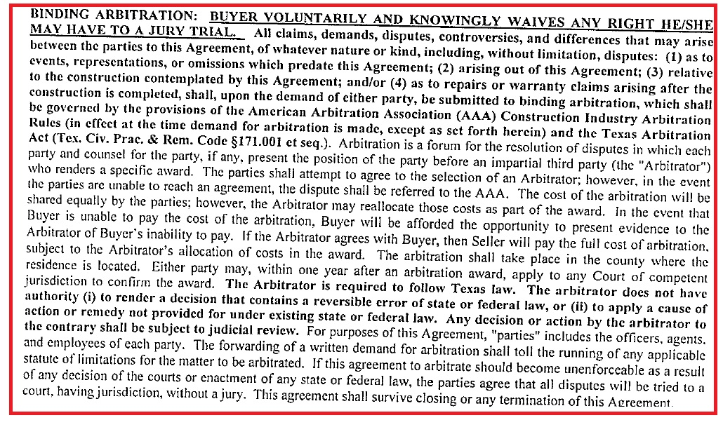 Binding Arbitration Clause For New Home Construction Plano Cisco