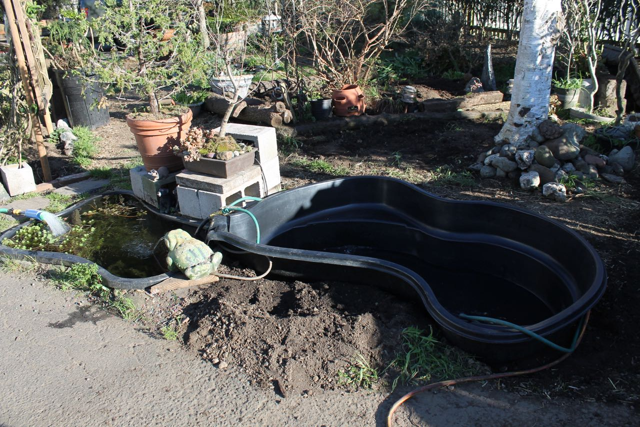 Preformed garden ponds grow solar front yard south for Filling in a pond