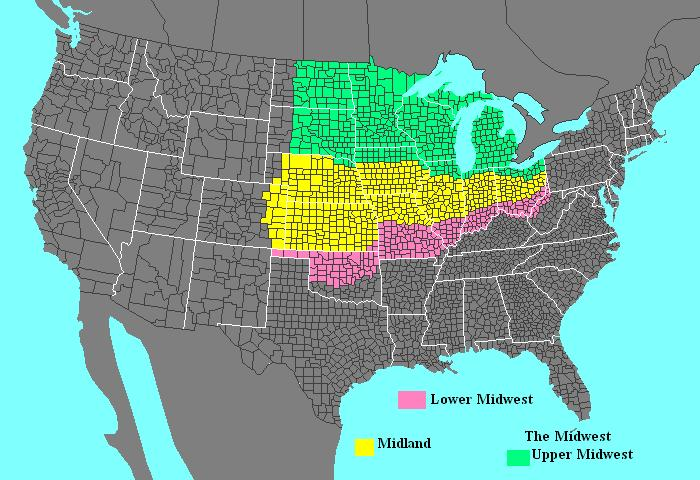 My definition of Midwest teacher map summer  General US