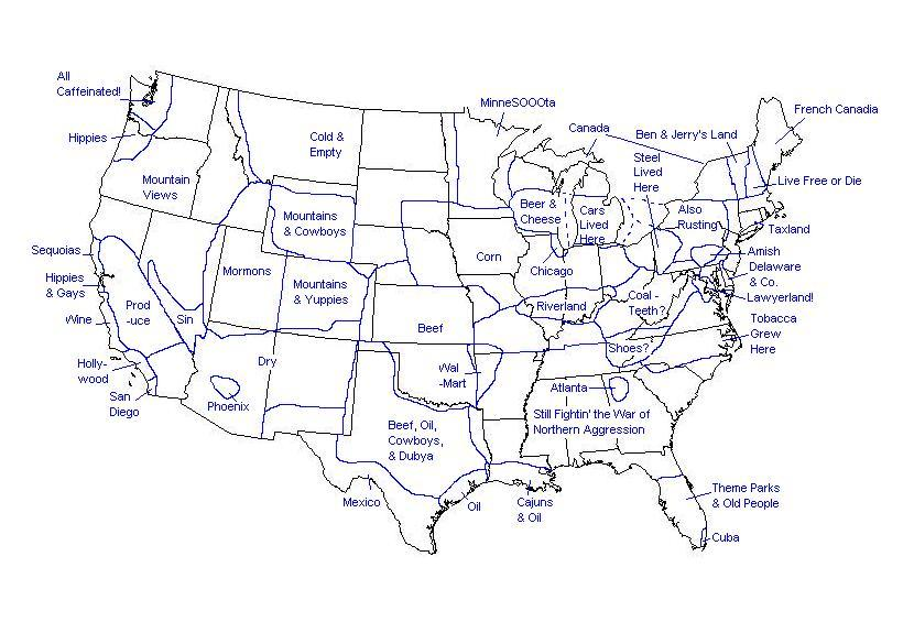 Map Of US Regions Live In Suburbs Parks General US - South us region map