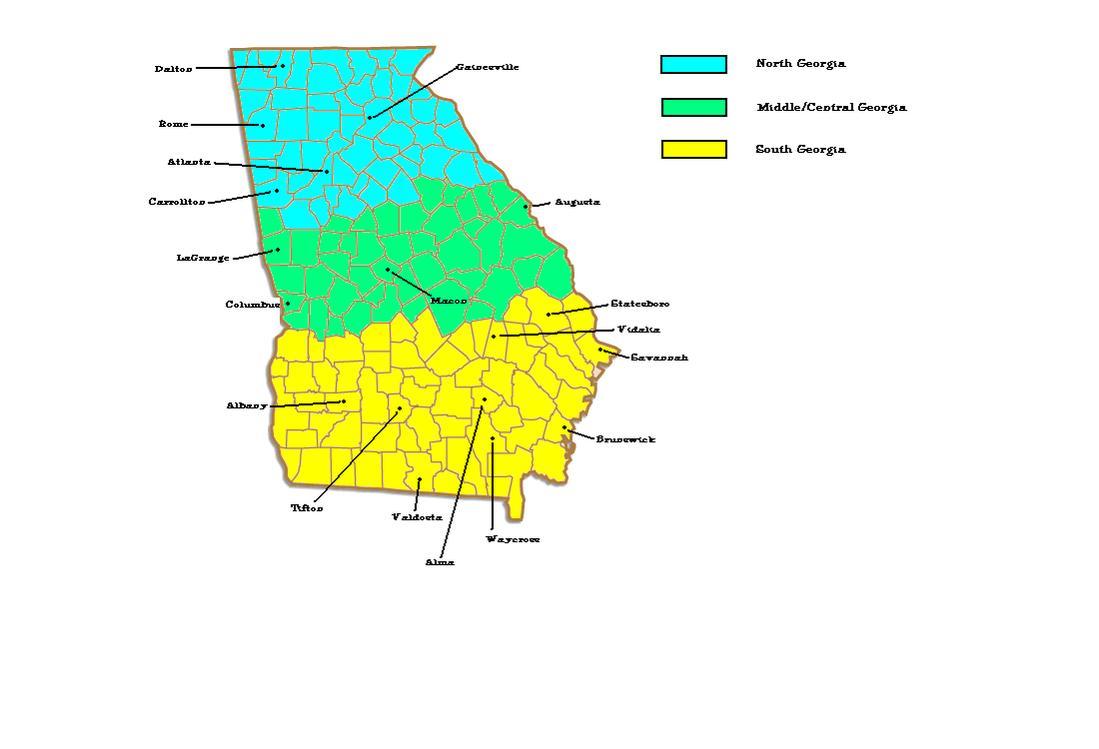 NORTHERN GEORGIA Or SOUTHERN GEORGIA Atlanta Columbus - Map of southern georgia
