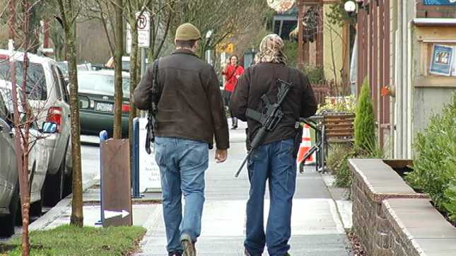 """Two men carry """"assault"""" rifles to """"educate"""" (rifle, sale ..."""