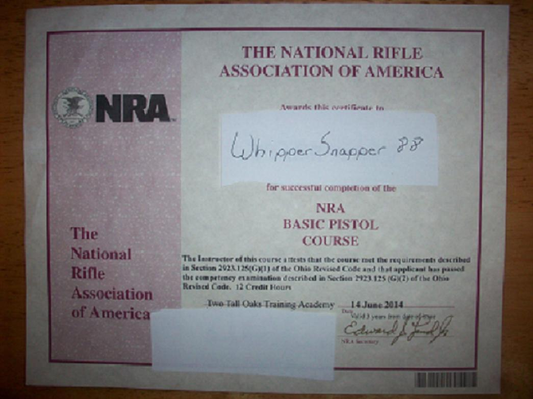 Nra certificate certificate c vargas for Nra certificate template