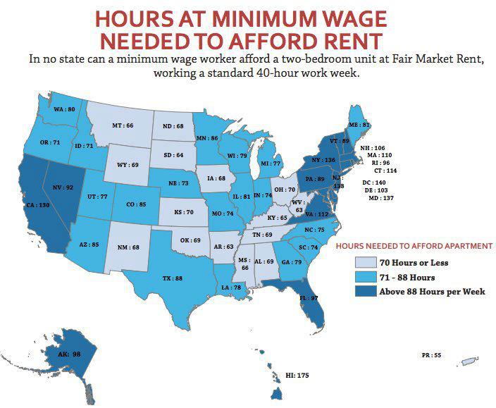 Hours At Minimum Wage Per Week To Afford A 2 Bedroom Apt Per State Apartment Hawaii Hi
