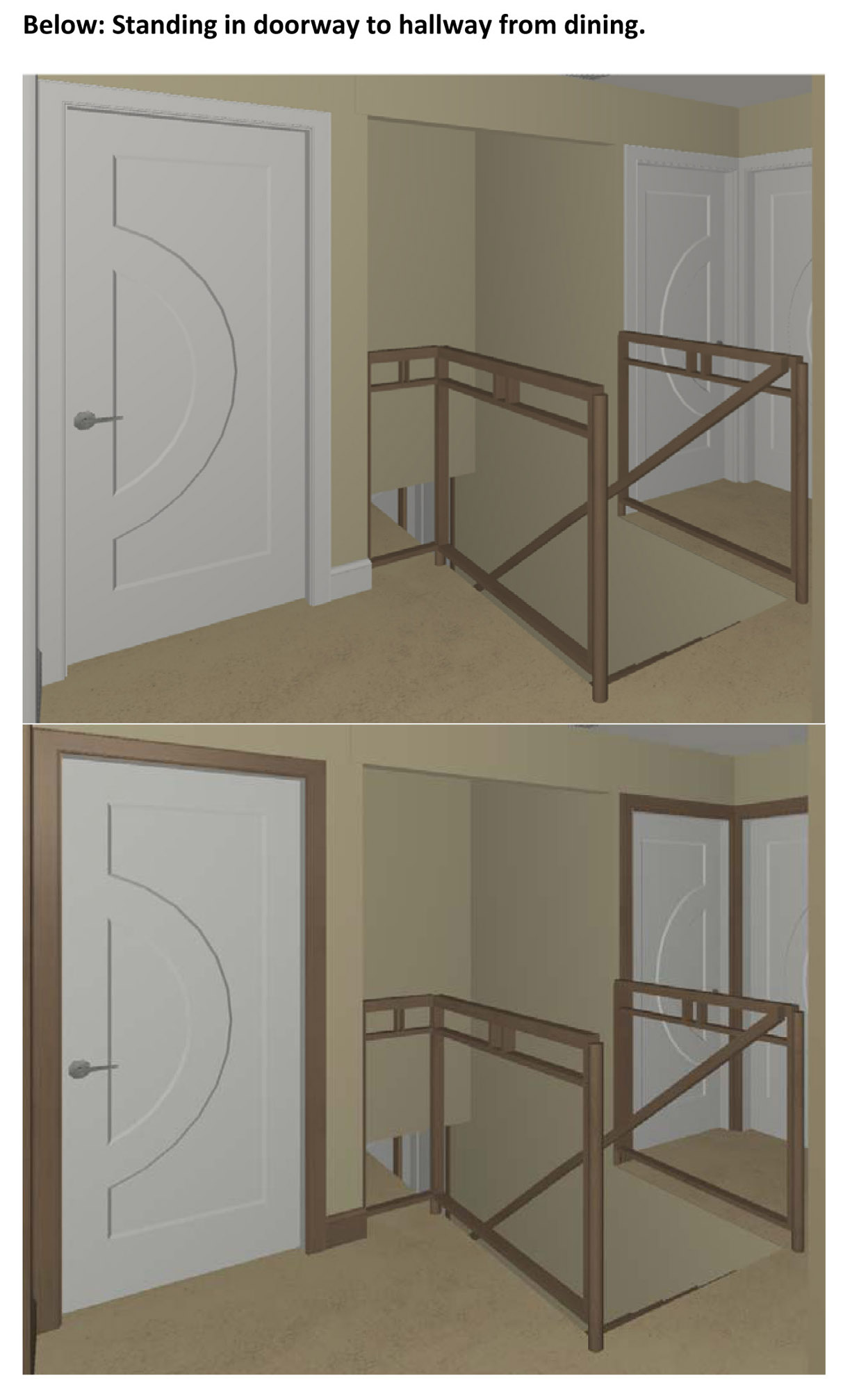 stained trim and painted doors 3d renderings attached. Black Bedroom Furniture Sets. Home Design Ideas
