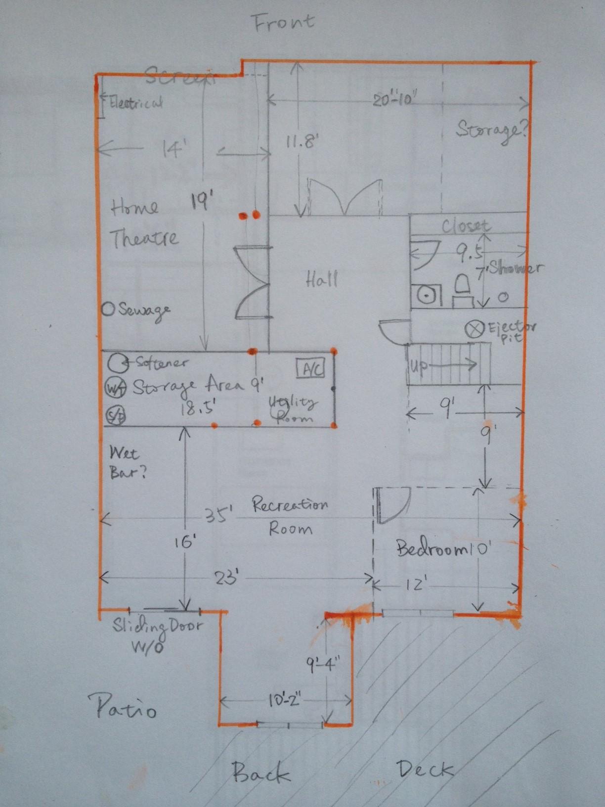 help with my basement floorplan please! (floor, ceiling, shower