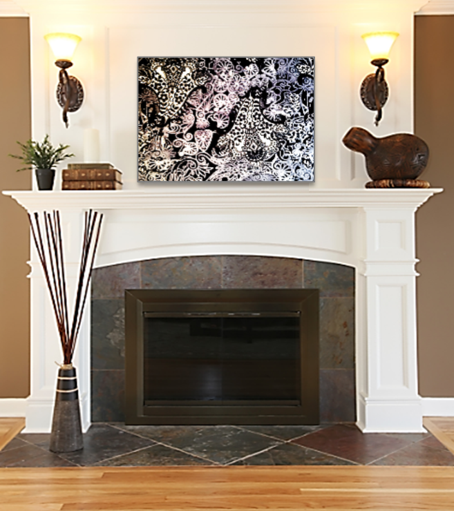 Photos bild galeria decor above fireplace for Over fireplace decor