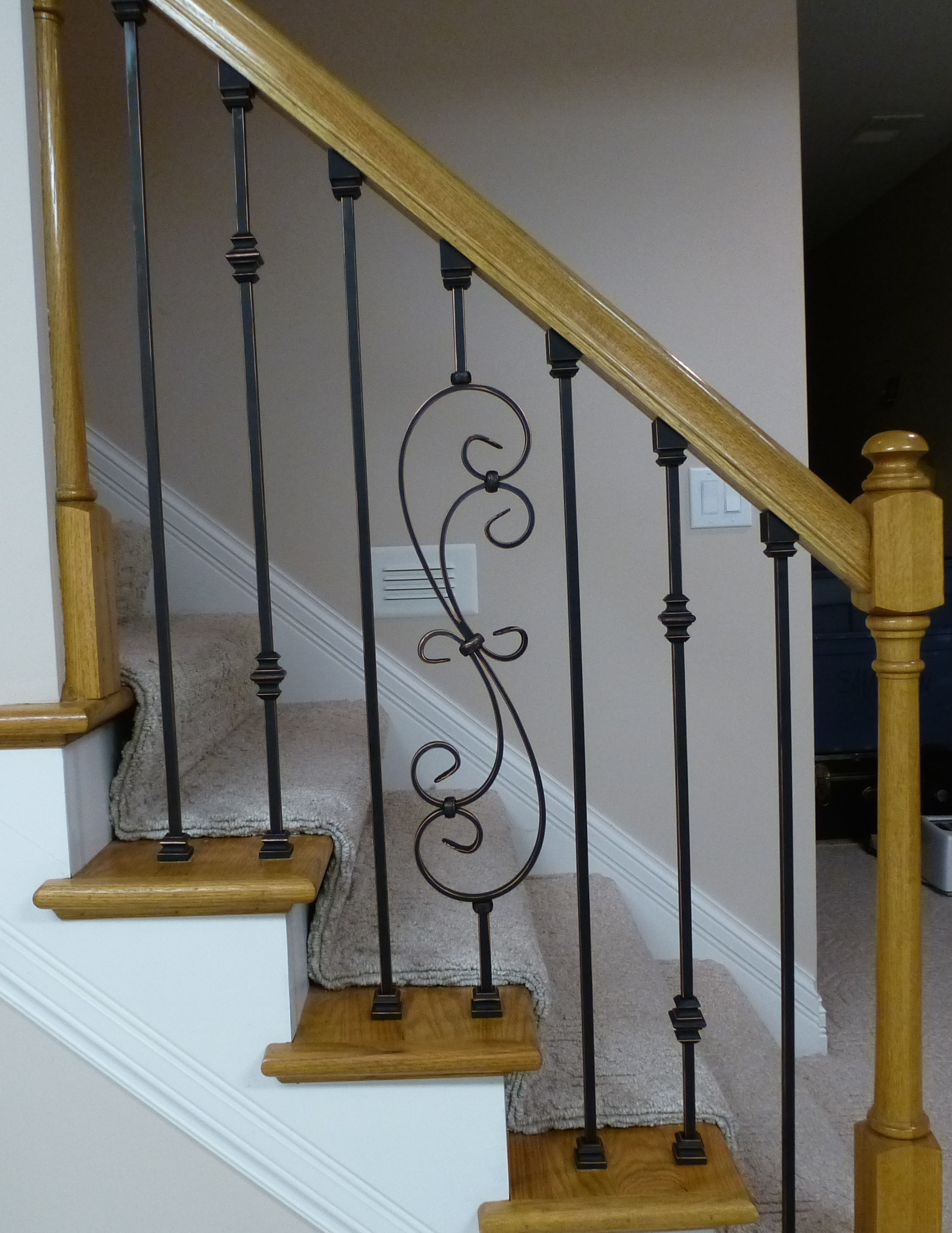 ... Replacing Wooden Stair Balusters (Spindles) With Wrought Iron  P1010287
