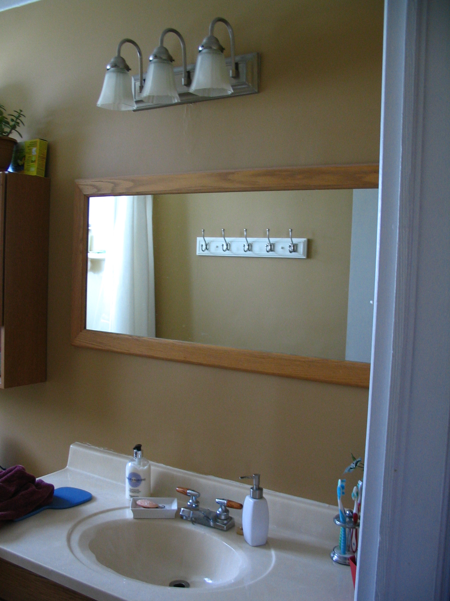 Bathroom light off center mirror sink design mirrors Home