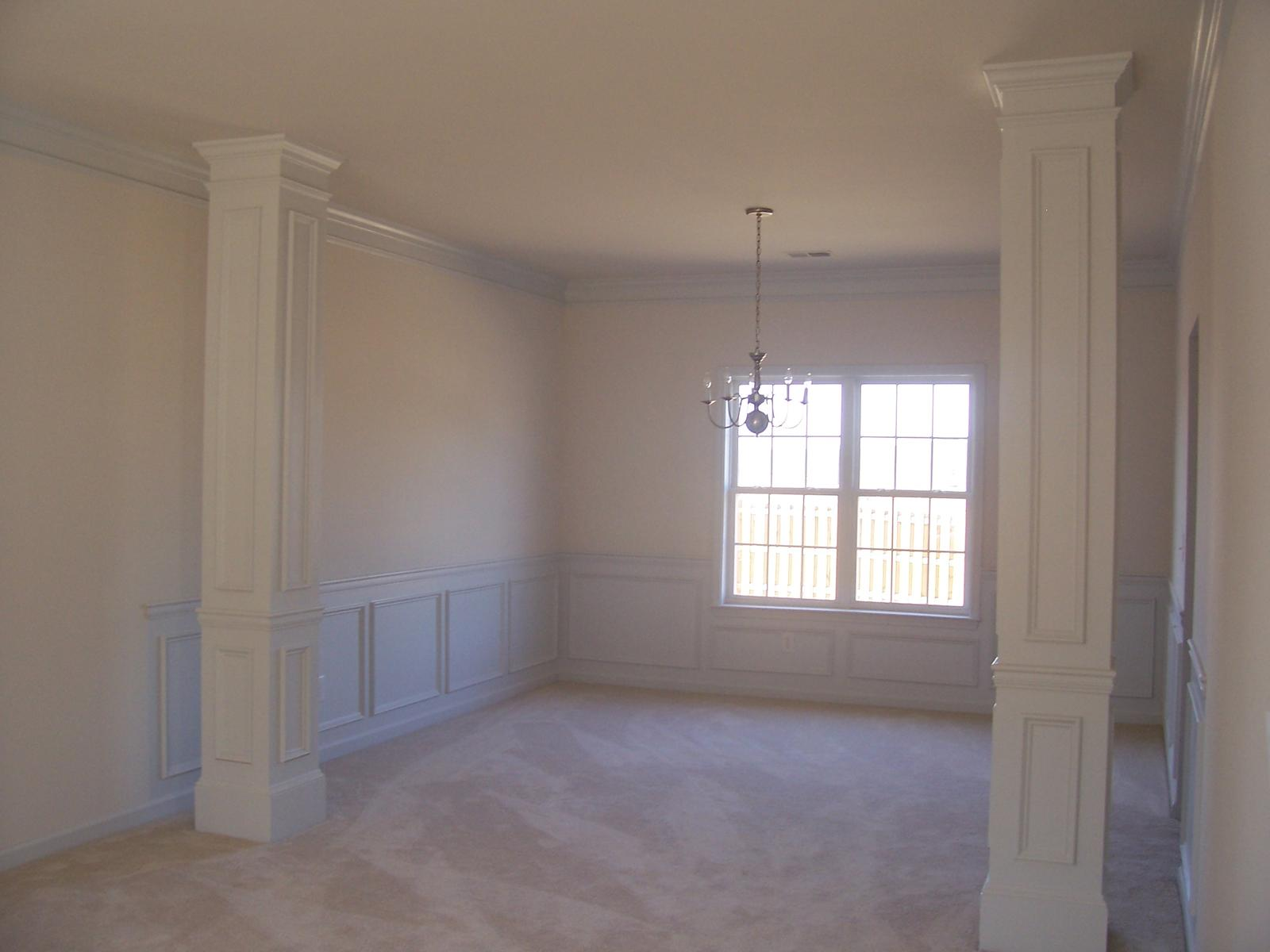 Living and dining room combined hardwood paint for Columns in houses interior