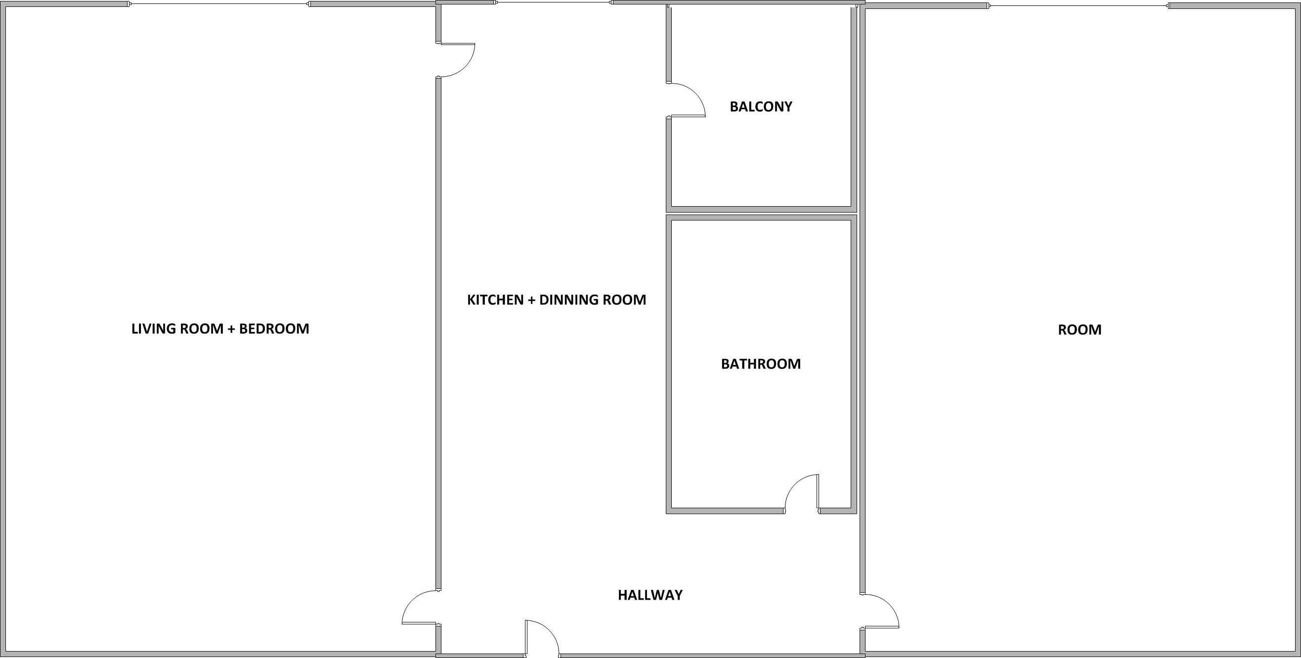 Combine Living Room And Bedroom Floor Plan Panel Curtains