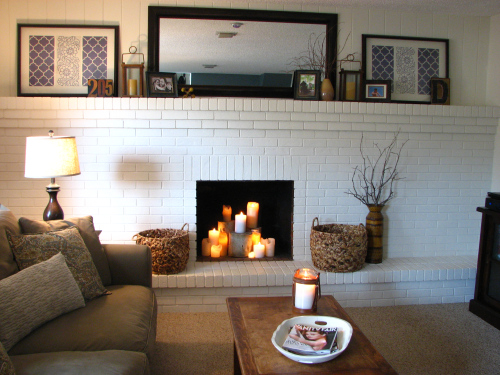 I love brick fireplaces and built-in shelves. Where do all you people put your books???