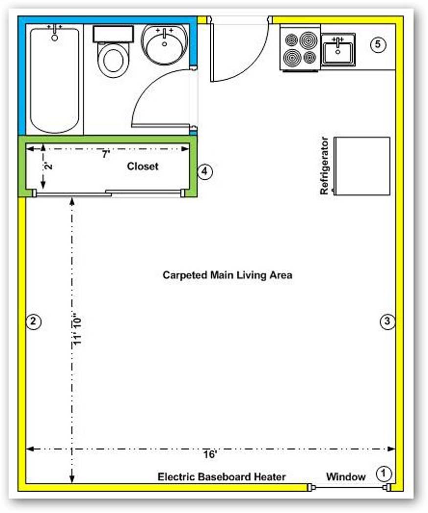 Window treatment for new bachelor suite floor plan drape for Studio layout plan