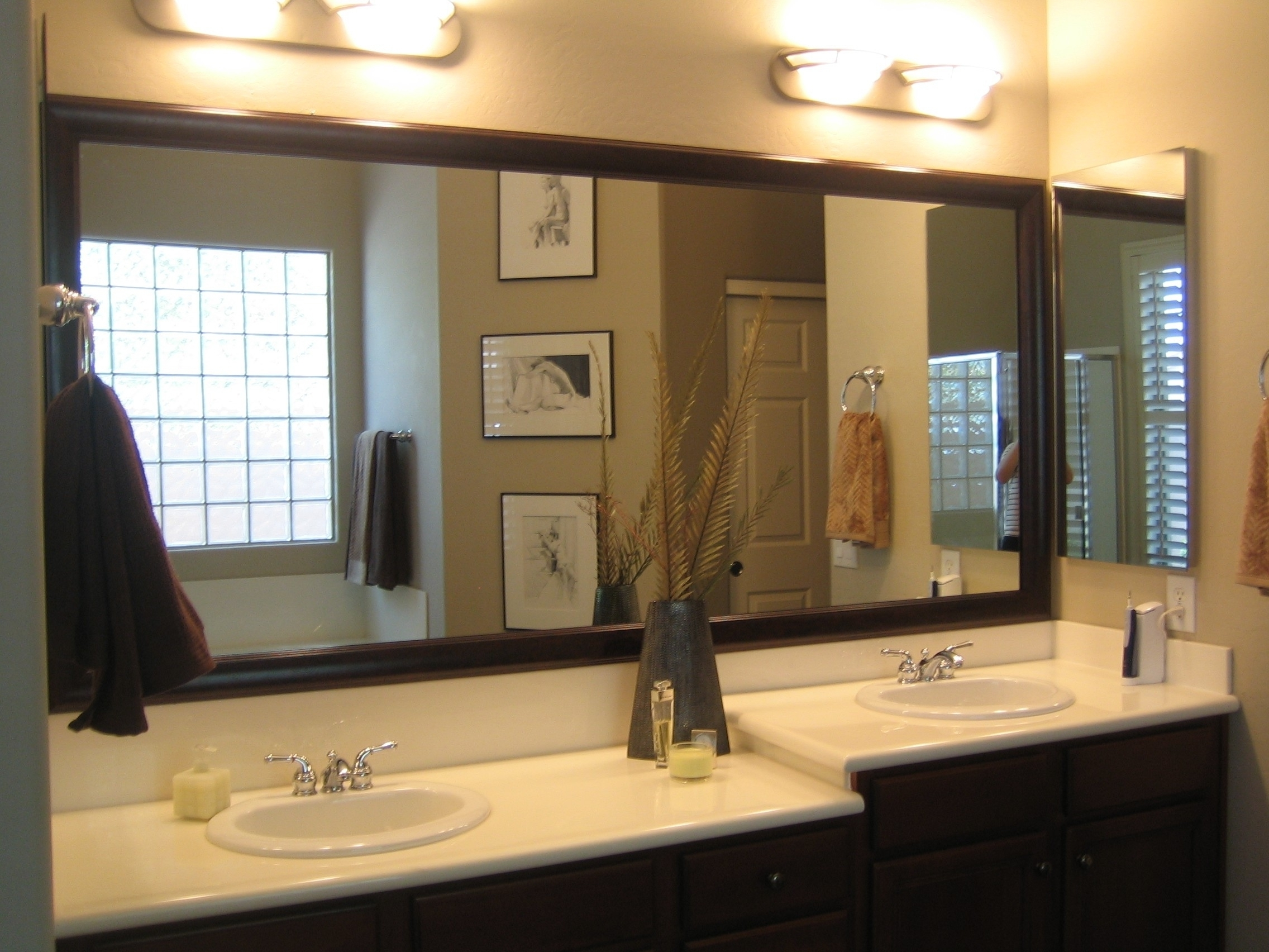 Bathroom Mirrors Separate Or One Big Piece Of Glass Vanity For 75 Nice Decorating With Framed Jpg