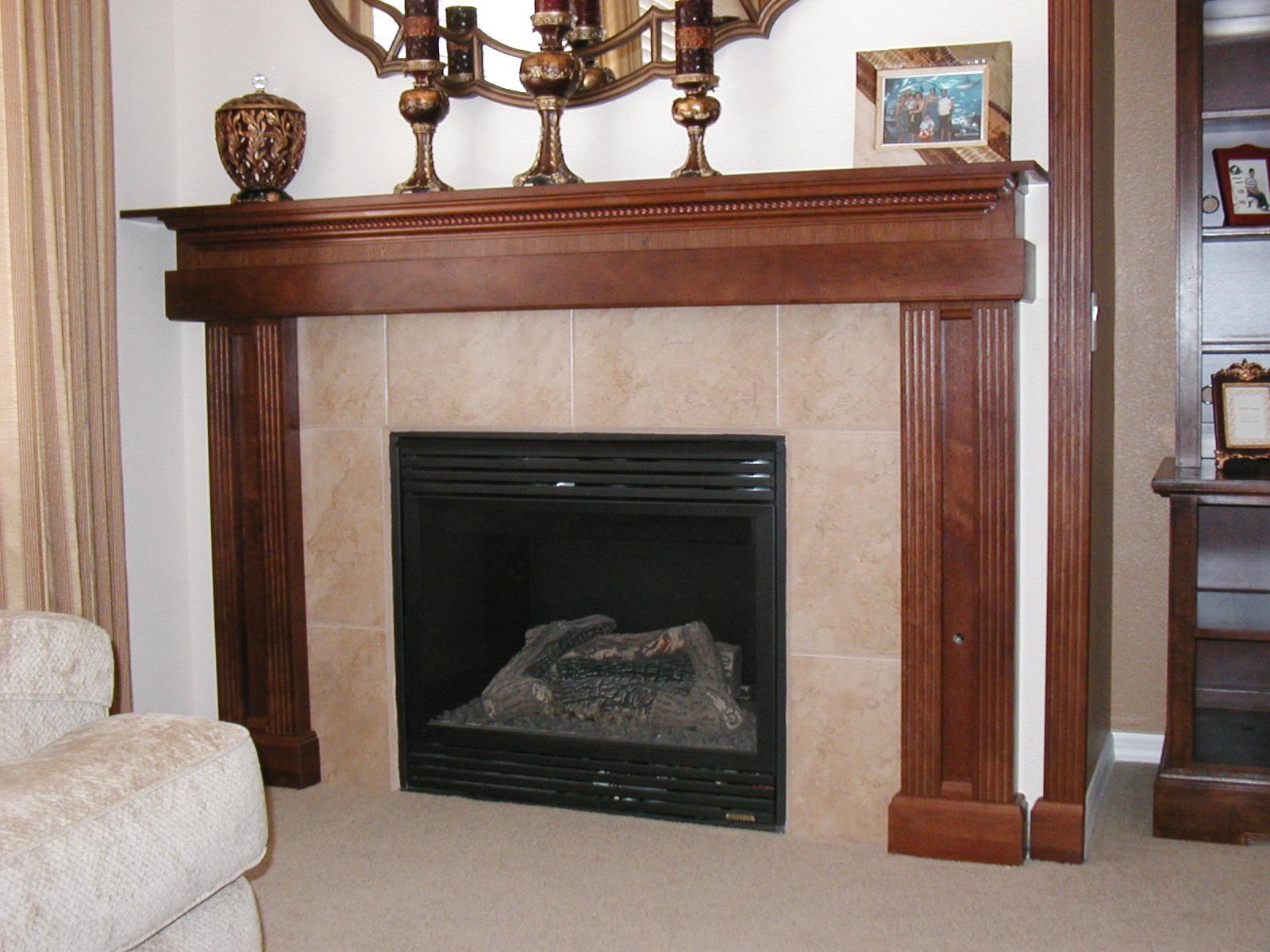 Fireplace Mantle Decorating Pictures Mirror Color