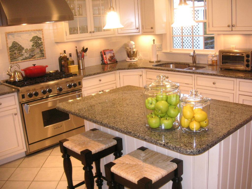 What colour countertops on white kitchen cabinets pip for Countertop decor ideas