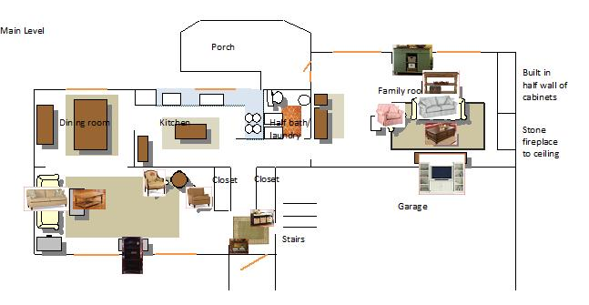 Living Room layout (shutters, gas fireplace, paint, curtains ...