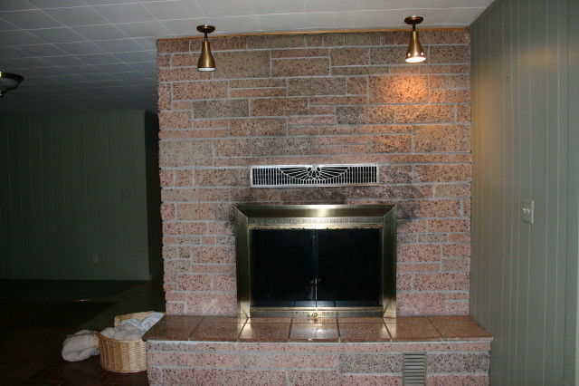 Soot on fireplace brick granite tile painting cleaner - Tile over brick fireplace ...