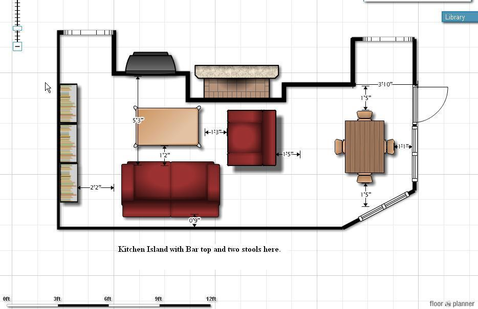 Sofa Size Floor Plan Fireplace Kitchen Family Room