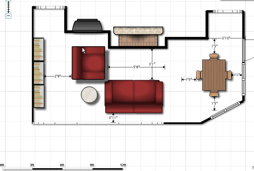 sofa size (floor plan, fireplace, kitchen, family room) - Home ...