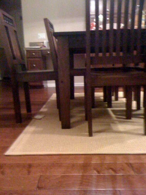 Dining table area rug size for dining table for Dining table rug