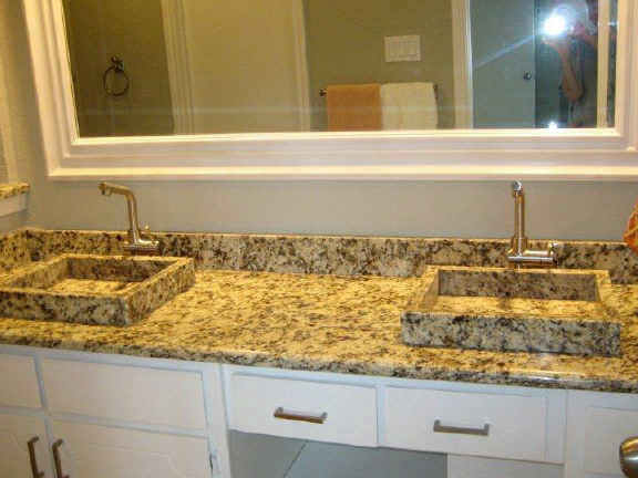Glass countertop in bathroom Valspar tiles sinks kitchen Home