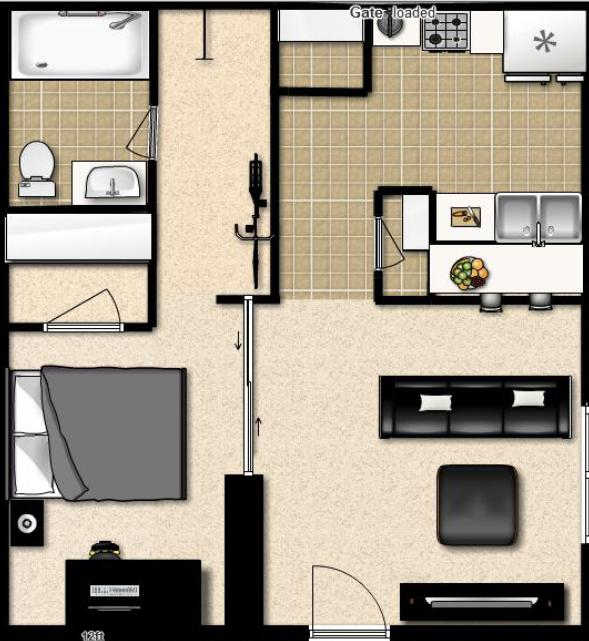 Studio apartment design plan thoughts drape panel Studio apartment design