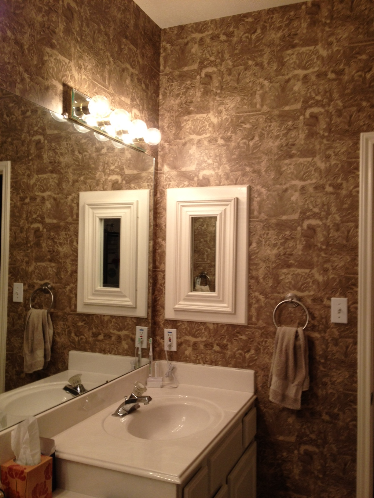 Master Bathroom Wallpaper Help Vinyl Paint Sand Color