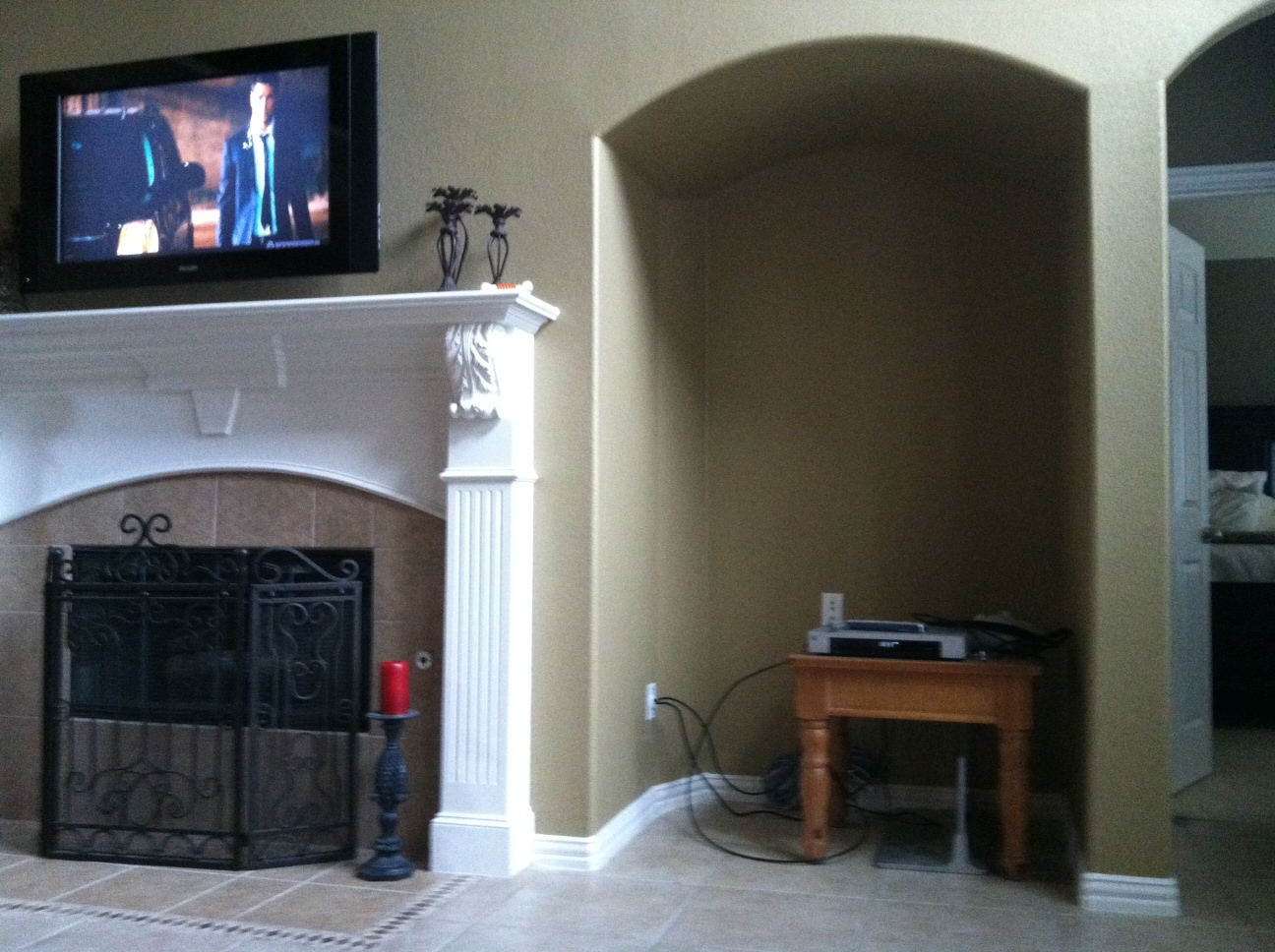 Empty Entertainment Niche Help Mirror Fireplace Doors