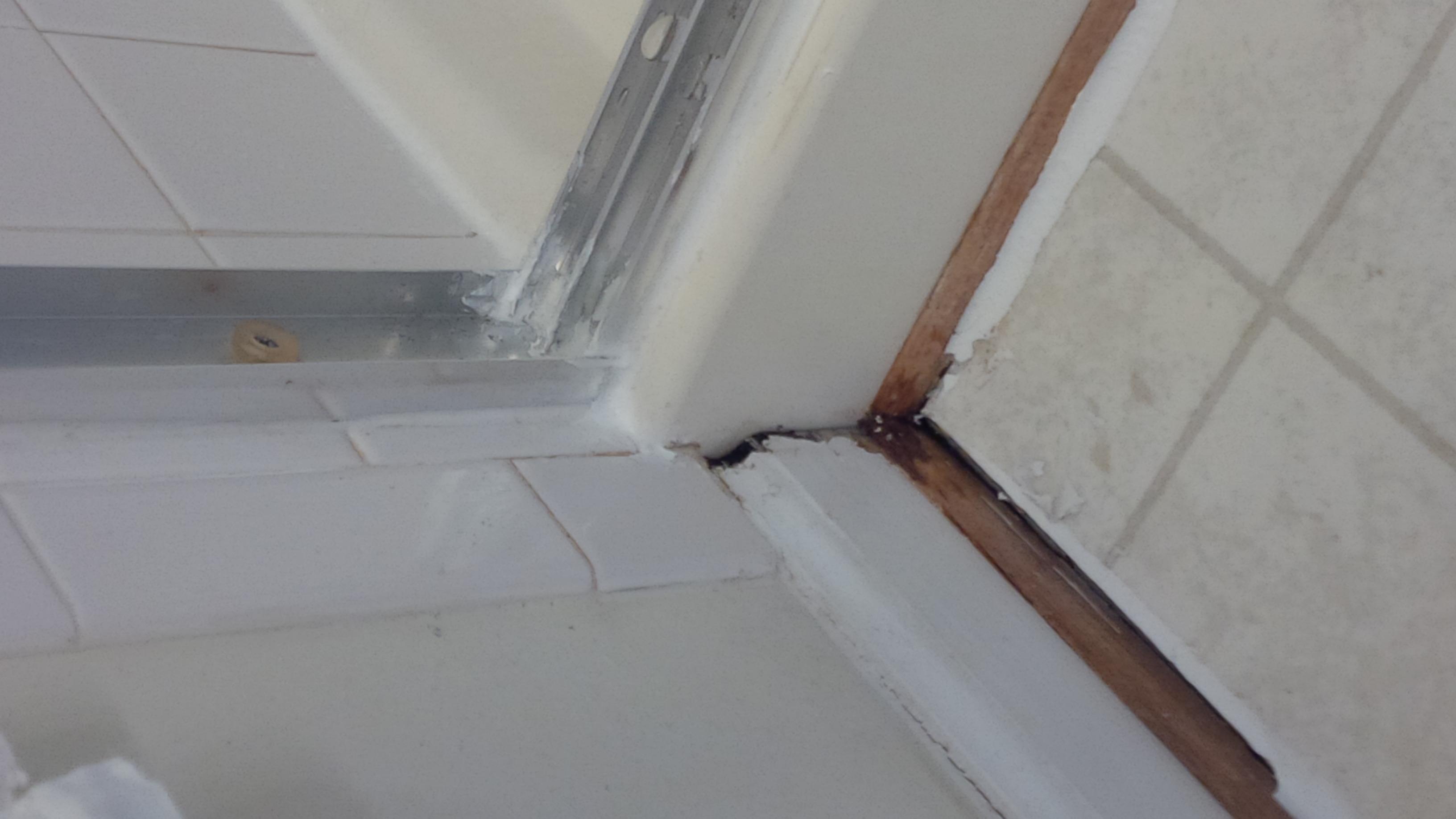 Leak in bathroom subfloor drain sink ceiling house for Leaked bathroom photos