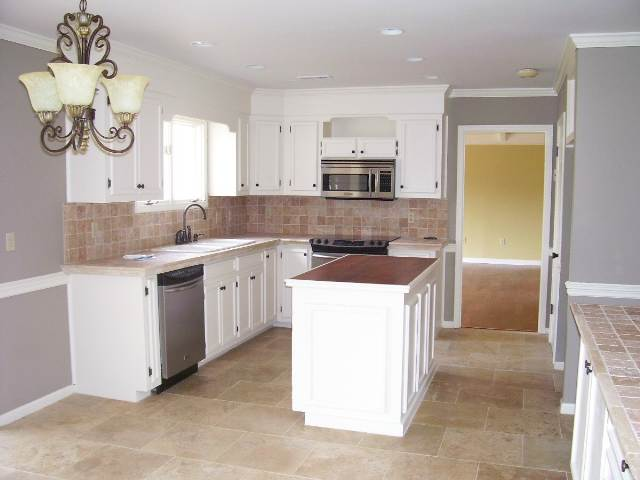 kitchen countertop (tiling, granite, home depot, stove) - house