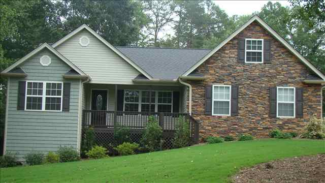 Stone Front House landscaping for front of house (stone, siding, fence, best