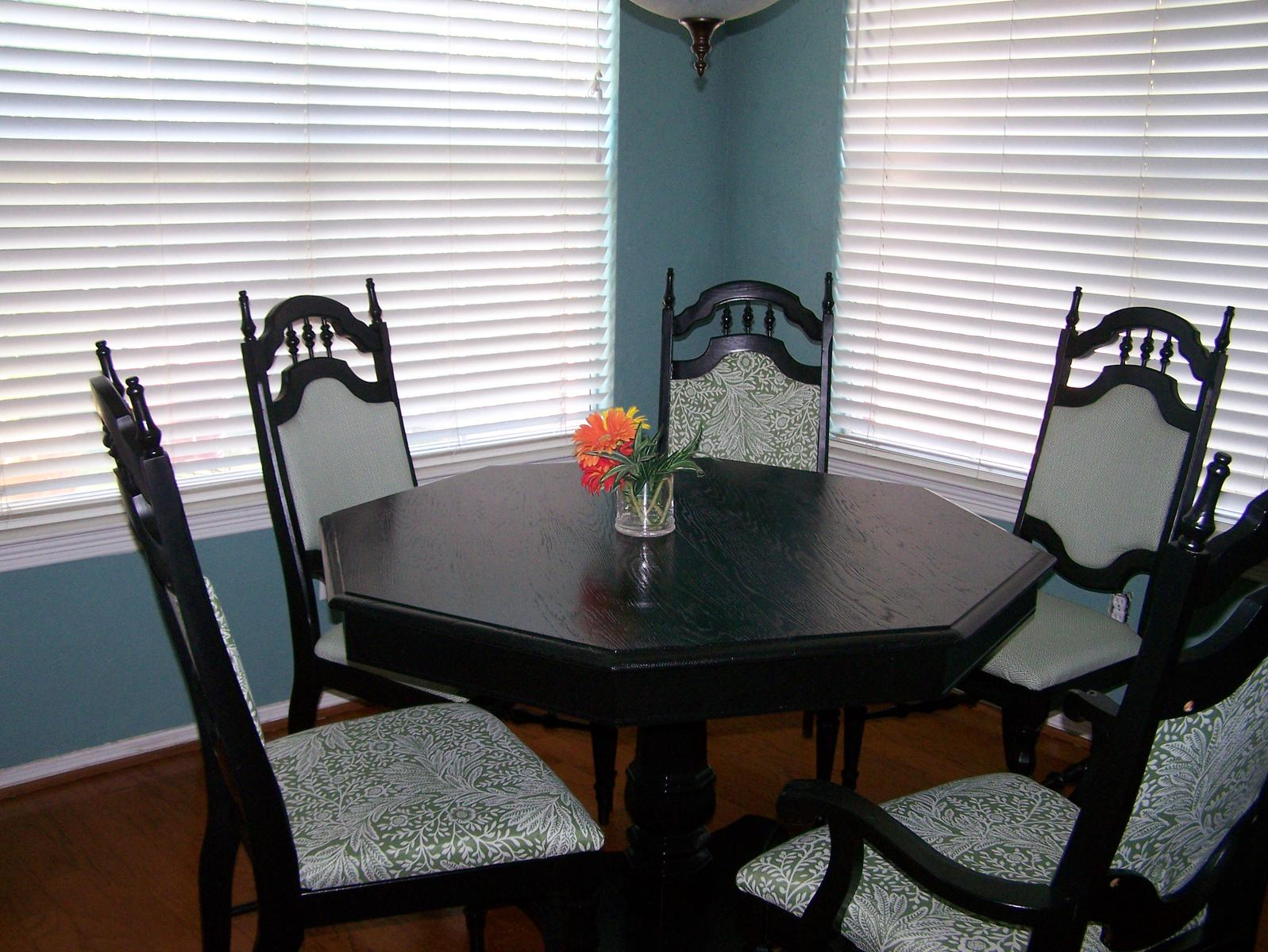 Ideas to re cover my kitchen chairs refinish colors for Painted kitchen table ideas