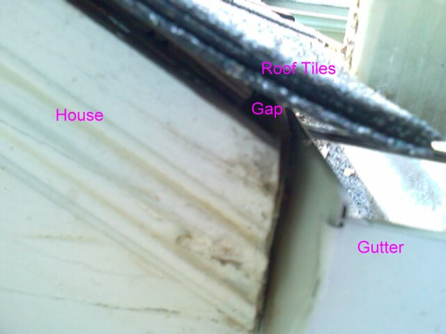 Gap Between Roof Tile And Gutter Roofing Heat Drain