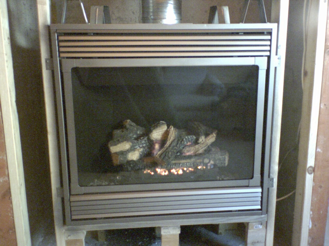 Gas fireplace insert- what to use underneath? (my fireplace, sofa ...