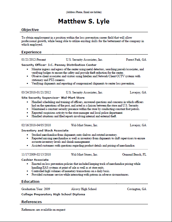 Employment Resume | Resume Sample Format