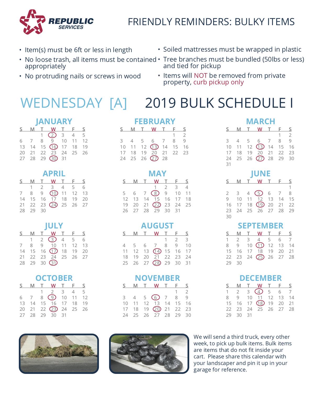 Republic Services Bulk Pickup Calendar 2021 Las Vegas Bulk Pick Up schedule gone? (Henderson: mattress, yard, area